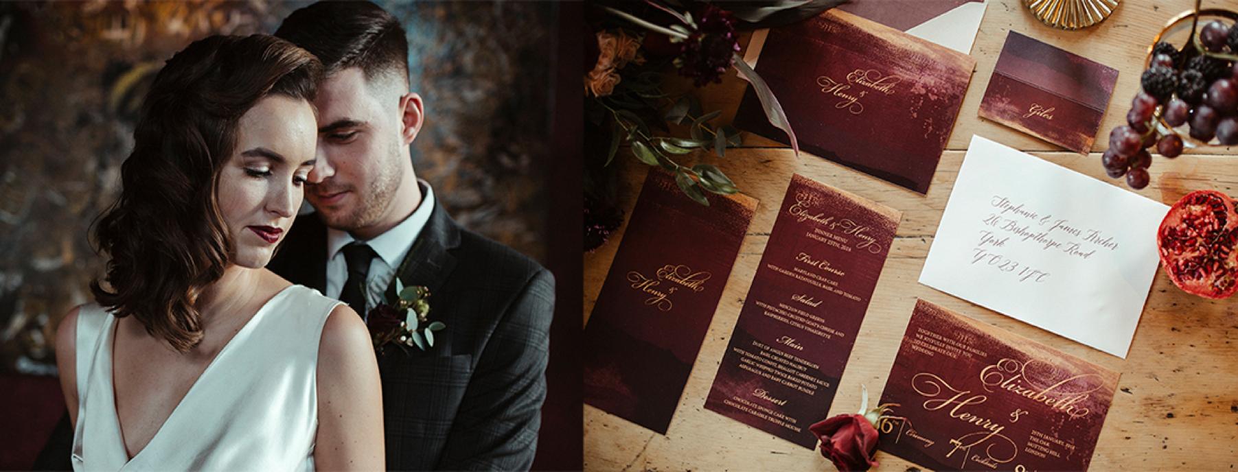 Claret and gold wedding invitation, regal wedding, sumptuous wedding, red and gold, winter wedding, autumn wedding