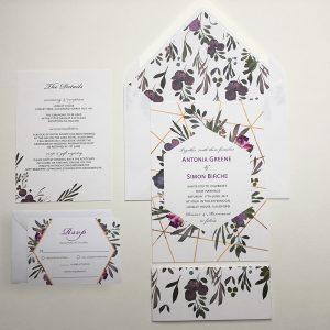 Muted Floral Invitation Sample | Surrey Wedding Event Stationery Design