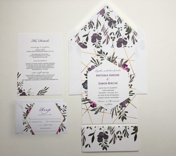 Muted Floral Invitation Sample | Surrey Wedding Event Stationery Design