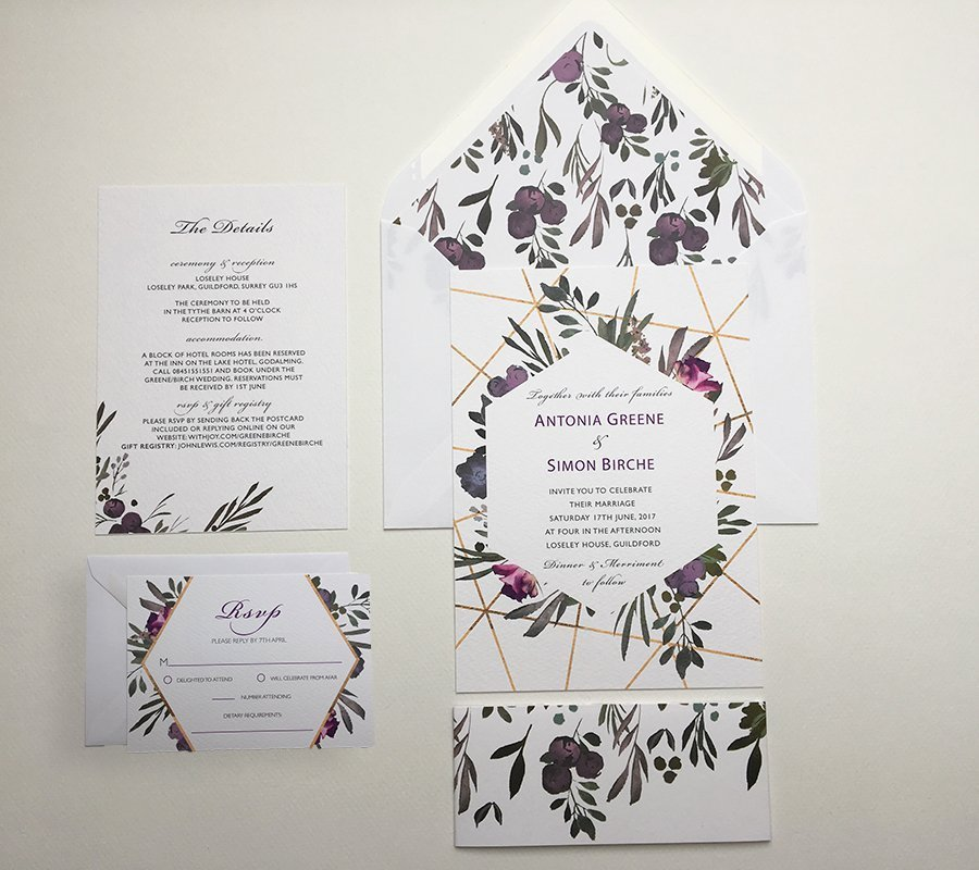 Muted Floral Invitation Sample   Surrey Wedding Event Stationery Design