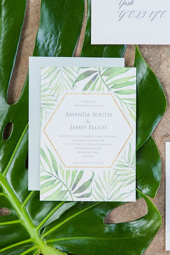 Palm Print Wedding Invitation, Wedding Stationery Design Surrey, Surrey Stationery Designer, Flamboyant Invites