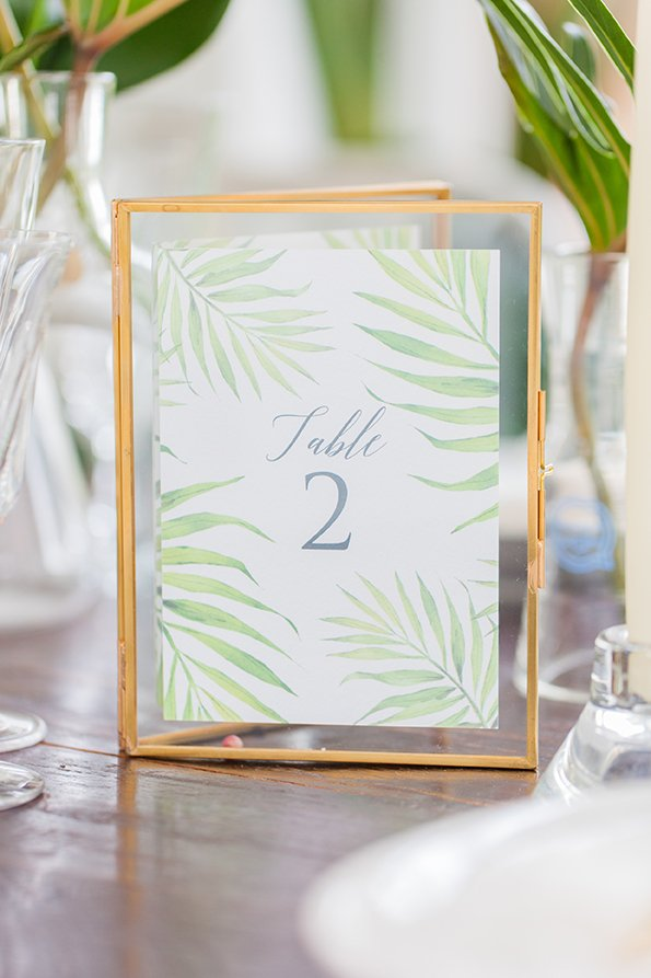 Palm Print Table Numbers | Wedding Inspiration | Flamboyant Invites