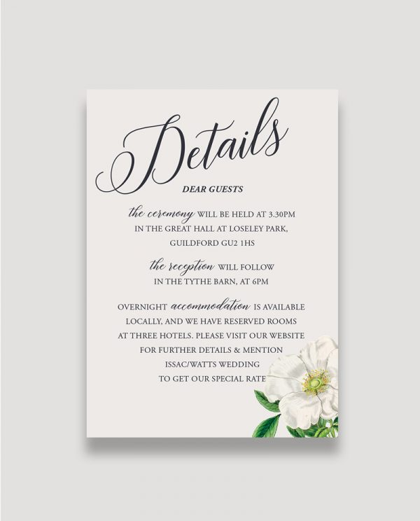 Botanical Enclosure Card, Floral Details Card, Floral Information Card, Summer Wedding, Details Card