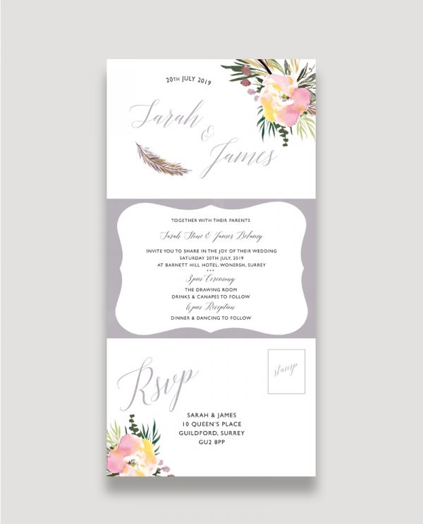 All in One Invitation, RSVP, Information Card, Summer Roses, Floral Wedding Invitation, Concertina Wedding Invitation, Summer Wedding Invitation, Spring Wedding Invitation, Feather Wedding Invitation, Modern Wedding Invitation