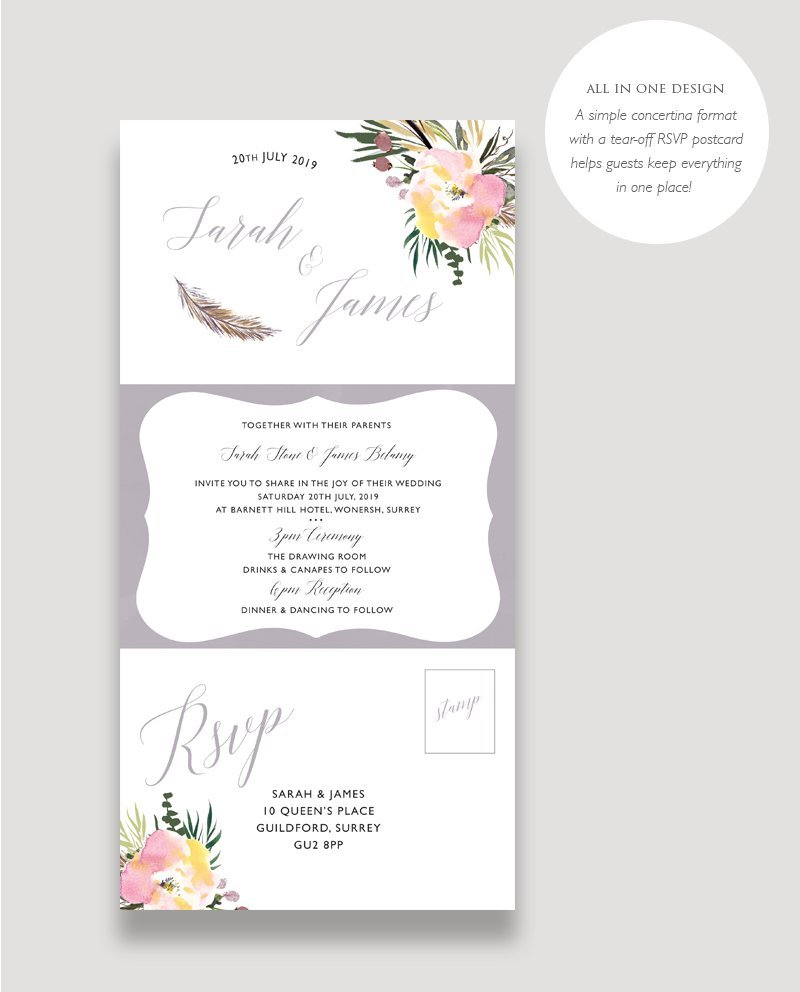 All in One Summer Rose Wedding Invitation
