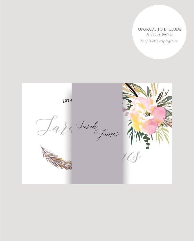 All in One Invitation, RSVP, Information Card, Summer Roses, Floral Wedding Invitation, Concertina Wedding Invitation, Summer Wedding Invitation, Spring Wedding Invitation, Feather Wedding Invitation, Modern Wedding Invitation