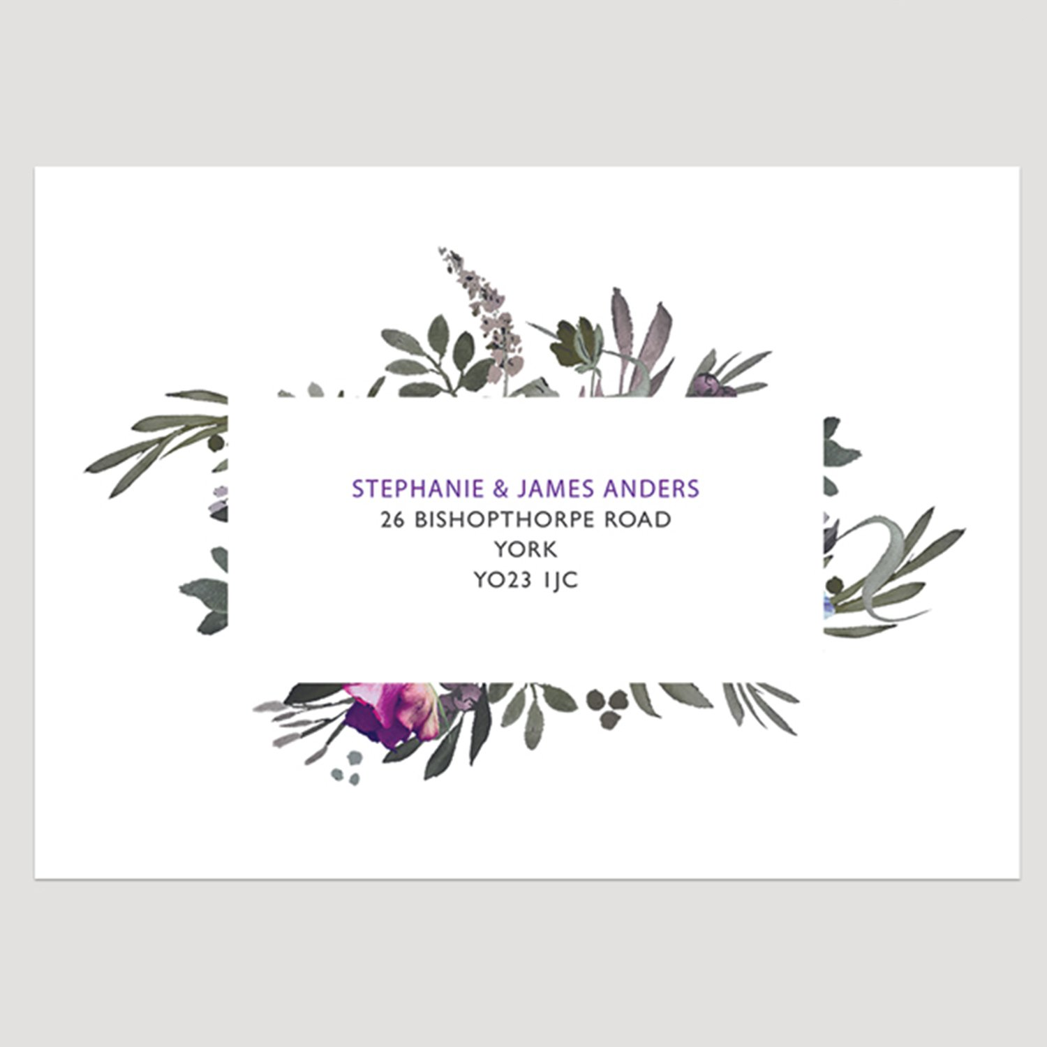 Muted Floral Printed Invitation Envelope, Guest Addressed Printed Envelopes, Floral Wedding Invitation, Summer Wedding Invitation, Autumn Wedding Invitation, Modern Wedding Invitation