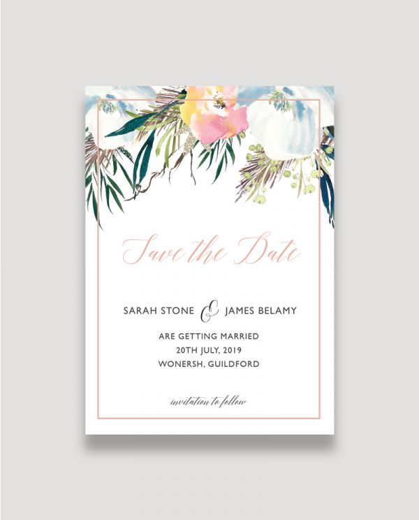 Summer Rose Save the Date, Save the Date invitation, Summer Wedding, Surrey Wedding Stationery