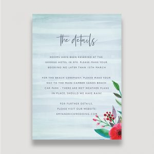 Colourful Floral Enclosure Card, Bold Floral Details Card, Pops of Colour Floral Information Card, Spring Wedding, Summer Wedding, Details Card