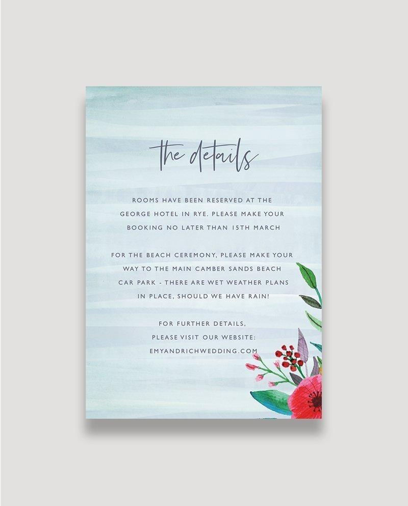 Floral Pop Wedding Details Card