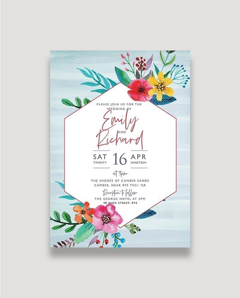 Wedding Invitation Postcard: Floral Pop Wedding Invitation