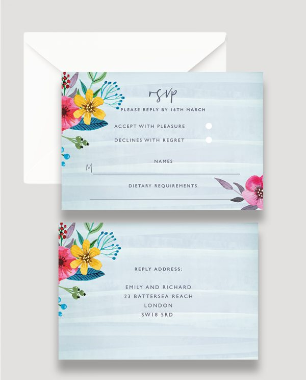 Colourful Floral RSVP Card, Bold Floral Reply Card, Pops of Colour Floral RSVP Card, Spring Wedding, Summer Wedding, RSVP Card, Personalised Wedding Stationery Surrey