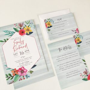 Colourful Floral Personalised Wedding Stationery, Floral Pop Personalised Wedding Invitation, Personlised Wedding Invitations Surrey, Modern Personalised Wedding Invitations, Invitation Wallets, Surrey Wedding Invitation Design, Surrey Wedding Invitation Designer, Guildford Wedding Stationery
