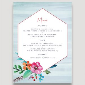 Colourful Floral Wedding Stationery, Floral Pop Wedding Menu, Wedding Menus, Modern Personalised Wedding Stationery, Surrey Wedding Invitation Design, Surrey Wedding Invitation Designer, Guildford Wedding Stationery