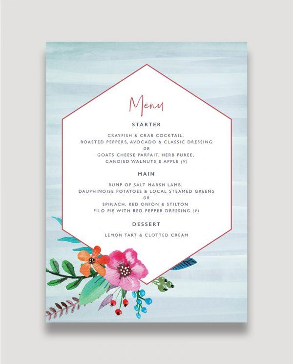 Colourful Floral Wedding Stationery, Floral Pop Wedding Menu, Wedding Menus, Modern Personalised Wedding Stationery, Surrey Wedding Invitation Design, Surrey Wedding Invitation Designer, Guildford Wedding Stationery