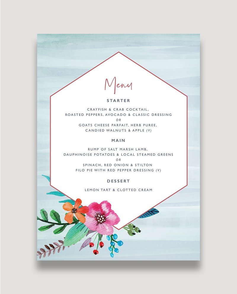 Floral Pop Wedding Menu