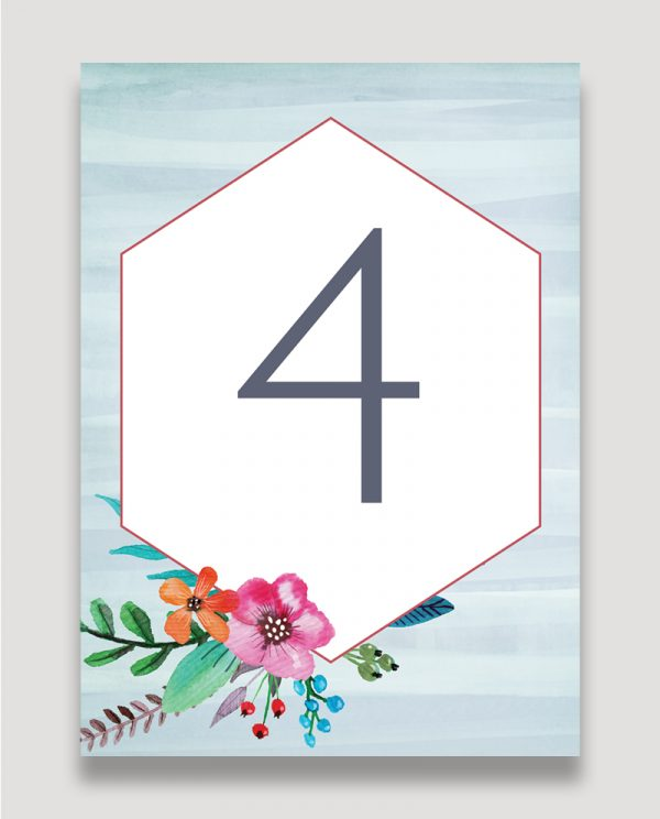 Colourful Floral Wedding Stationery, Floral Pop Wedding Table Number, Wedding Table Names, Modern Personalised Wedding Stationery, Surrey Wedding Invitation Design, Surrey Wedding Invitation Designer, Guildford Wedding Stationery