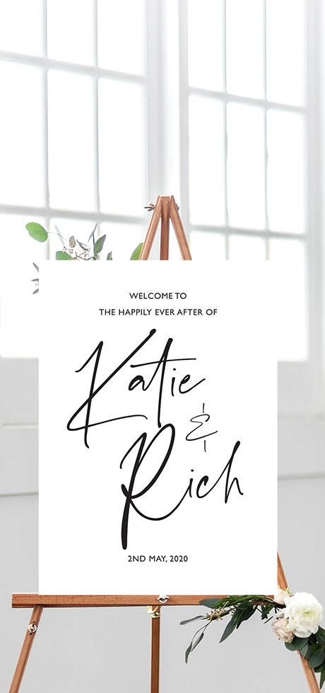 Wedding Welcome Signs, wedding signage, wedding stationery designer Surrey, style your day your way