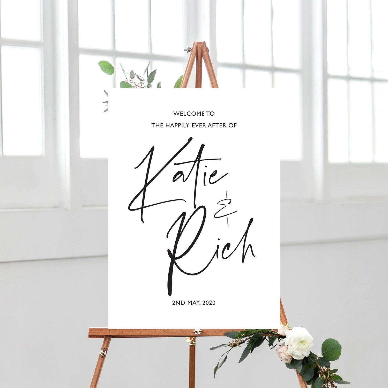 XOXO Wedding Sign, Welcome Sign, Modern Calligraphy | wedding stationery Surrey, Flamboyant Invites
