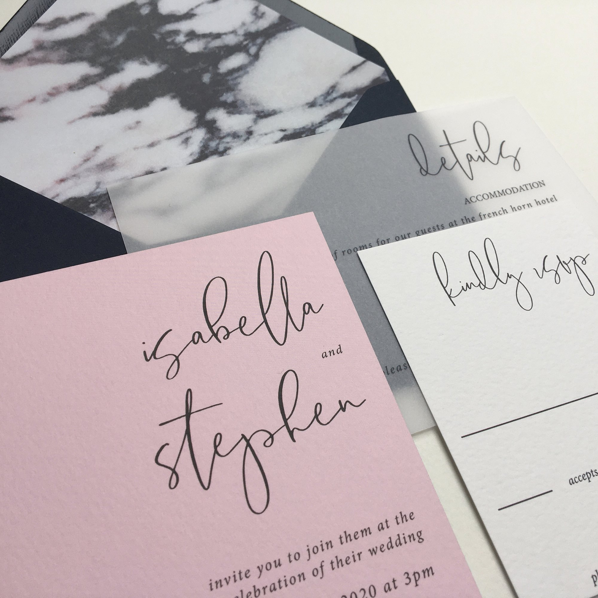 calligraphy wedding stationery suite by Flamboyant invites