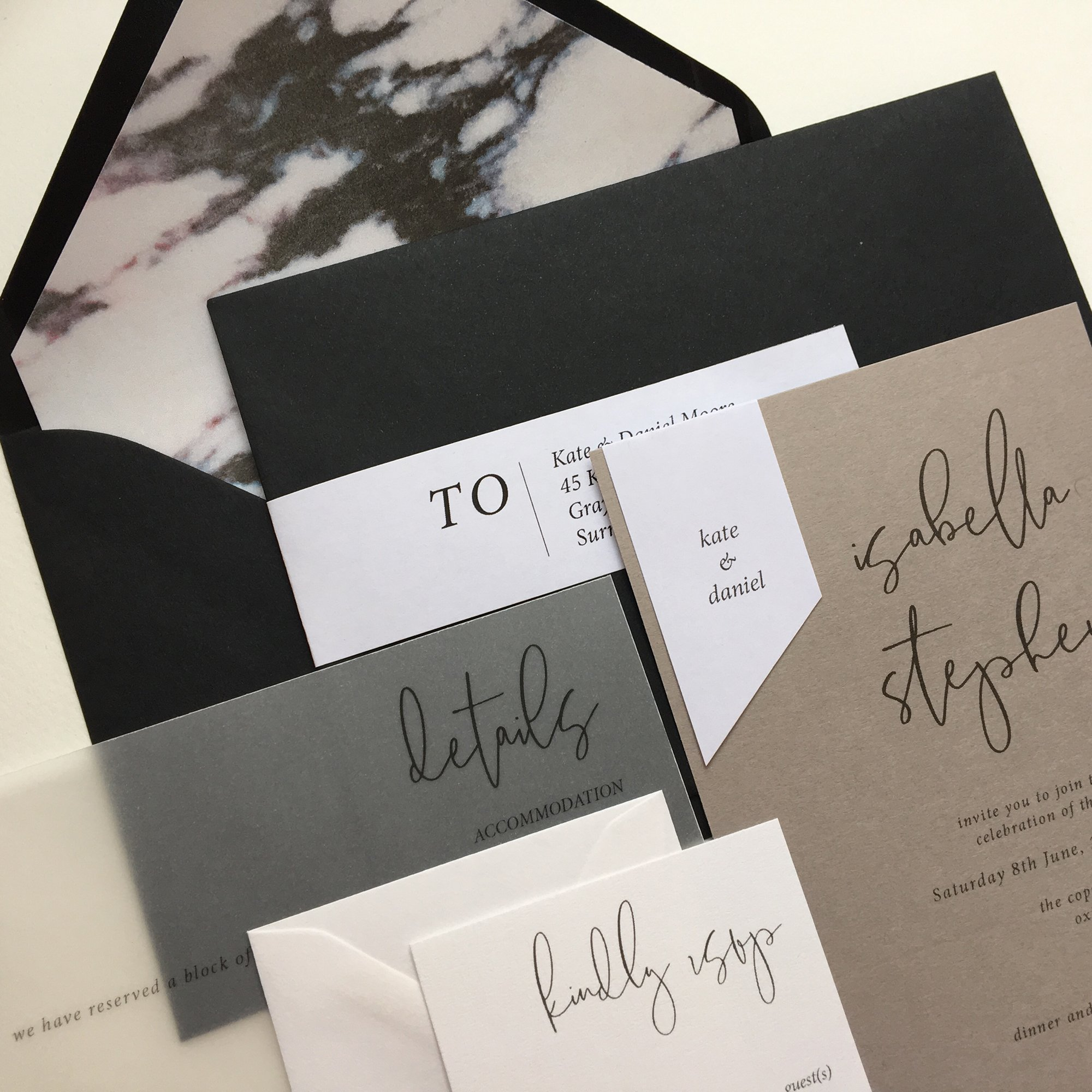 Minimo Modern Calligraphy Wedding Invitation Suite