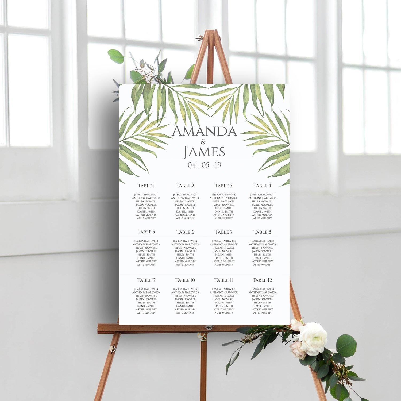 Coco Palm Wedding Table Plan   Surrey Wedding Event Stationery Design