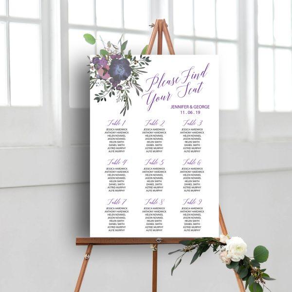 Floral Wedding Sign, Table Plan, Seating Plan   wedding stationery Surrey, Flamboyant Invites