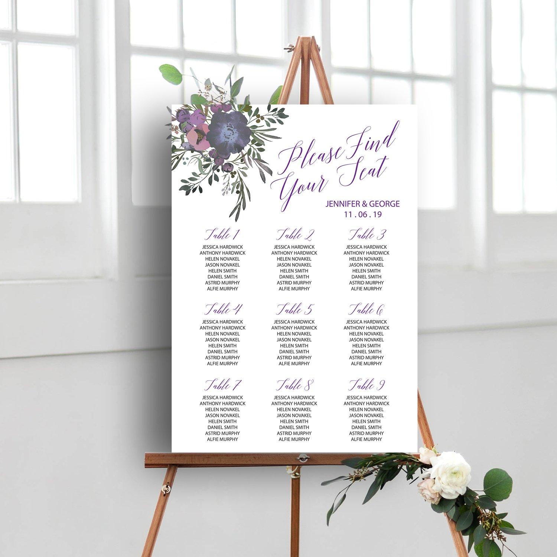 Floral Wedding Sign, Table Plan, Seating Plan | wedding stationery Surrey, Flamboyant Invites
