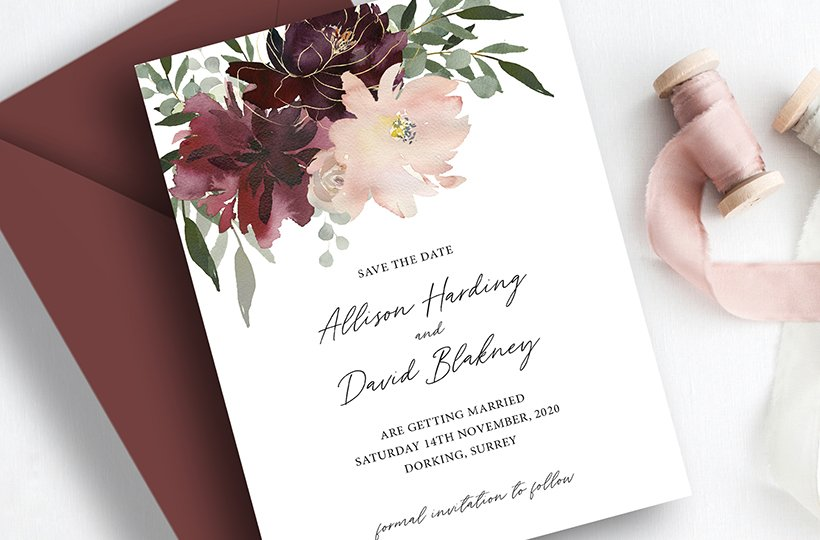 Burgundy and Blush Floral Save the Dates | Flamboyant Invites