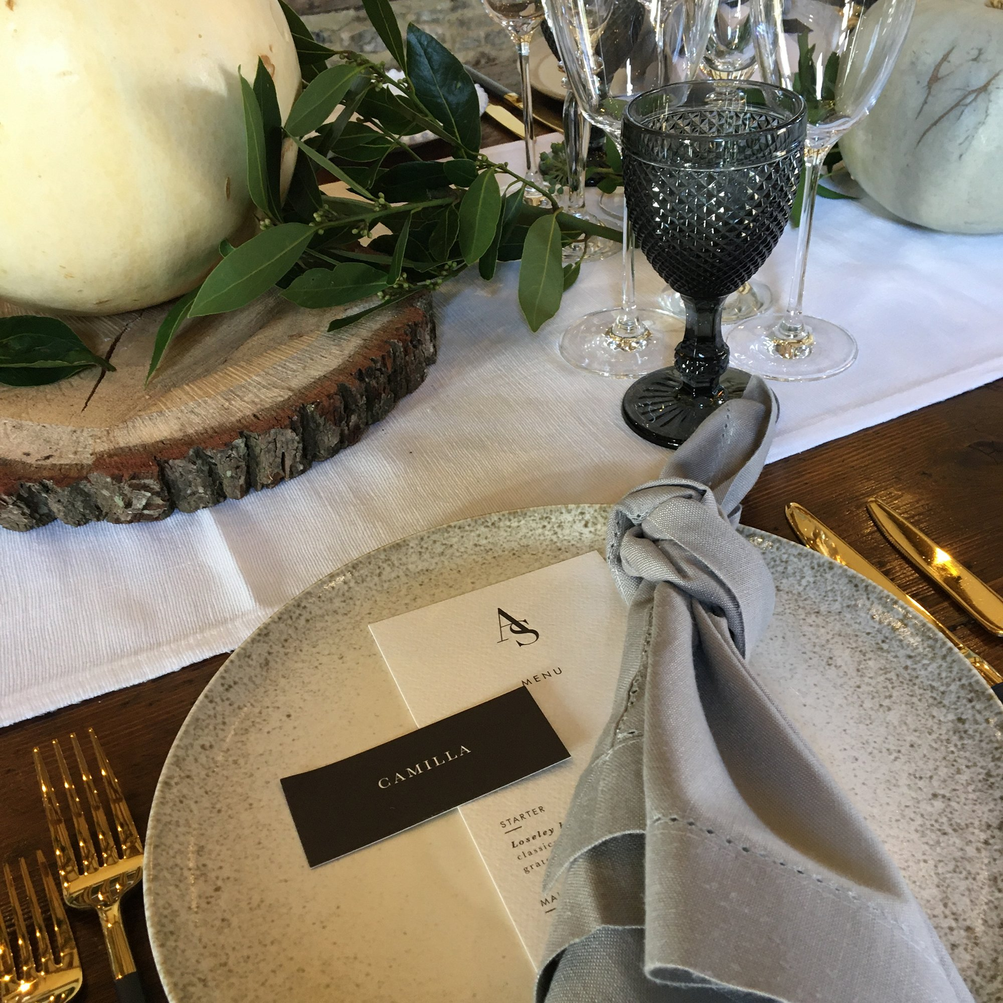 Modern Monogram Menu and Placecard by Flamboyant Invites | Loseley Park Supplier