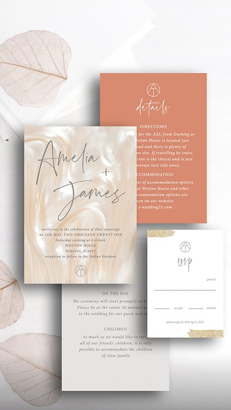 Mix and Match invitation suite | texture, colour, monogram by Flamboyant Invites