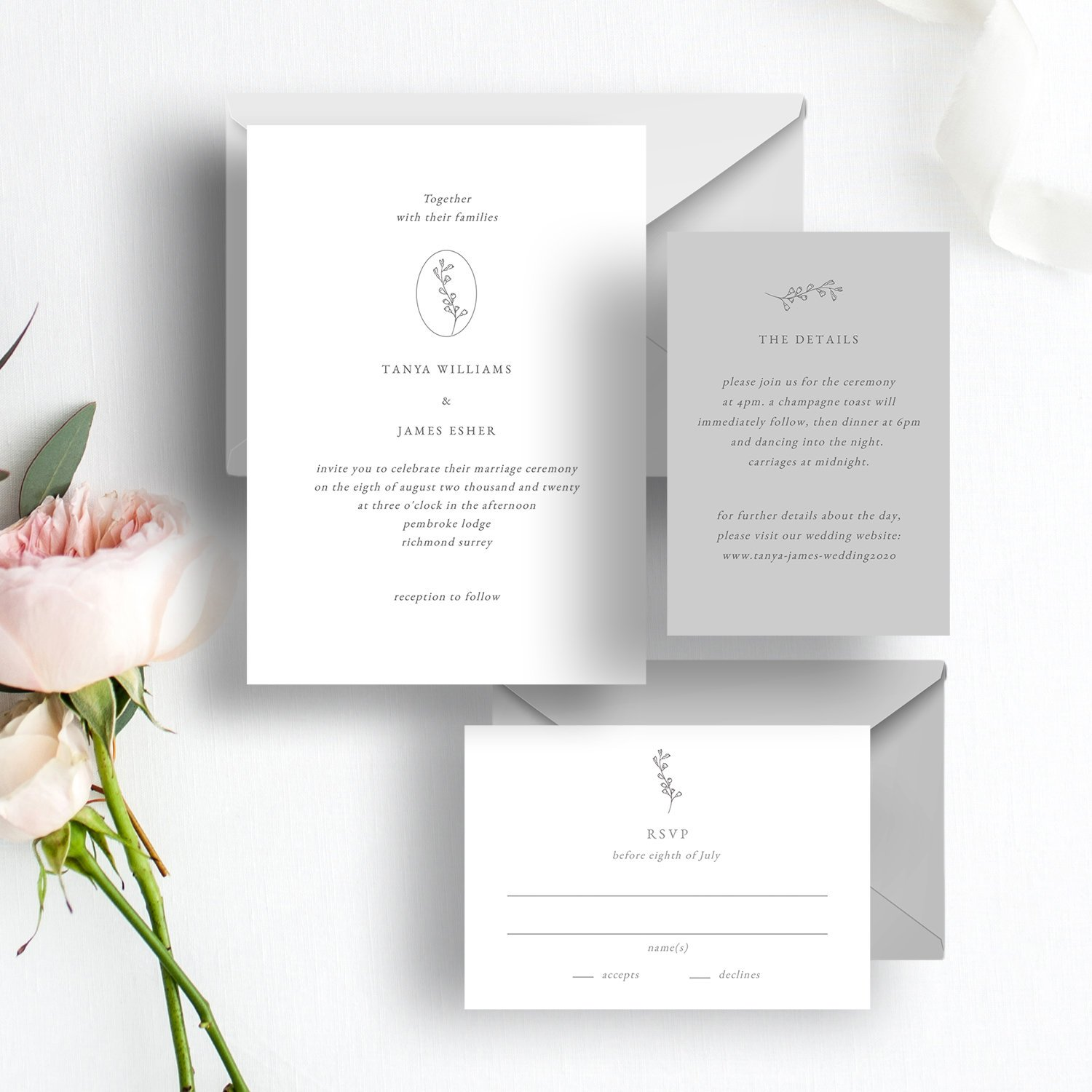 Fine Art Wedding Invitation Suite | Flamboyant Invites
