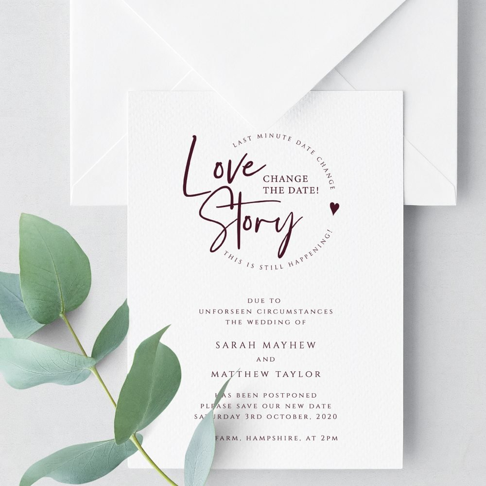 Love Story Change the Date Card   Change the Date Card   Flamboyant Invites