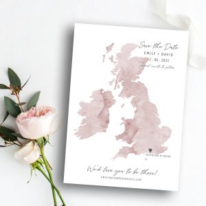 Destiny Watercolour UK Map Save the Date | Save the Date Card | Flamboyant Invites