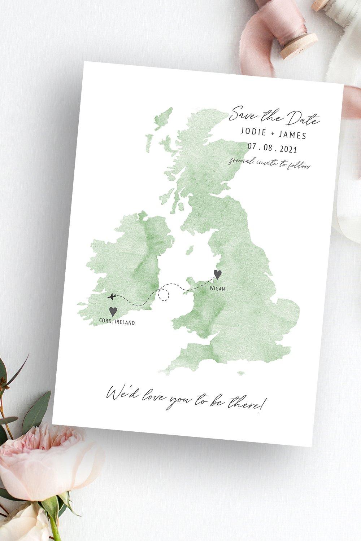 Destiny UK Ireland Wedding Map Save the Date | Flamboyant Invites