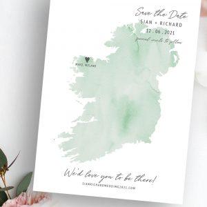 Destiny UK Irish Wedding Map Save the Date | Flamboyant Invites