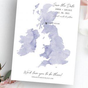 Destiny UK Scotland Wedding Map Save the Date | Flamboyant Invites