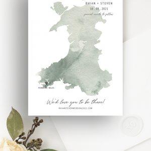 Destiny UK Wales Wedding Map Save the Date | Flamboyant Invites