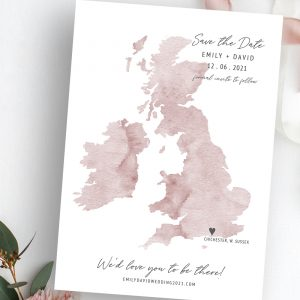 Destiny UK Wedding Map Save the Date | Flamboyant Invites