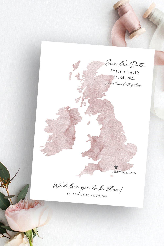 Destiny UK Wedding Map Save the Date | Flamboyant Invites
