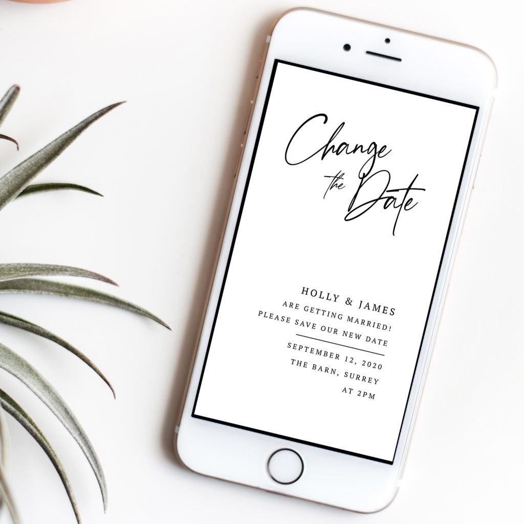 Scripted Modern Calligraphy Change the Date DIY Instant Invites | Change the Date Evite | Flamboyant Invites