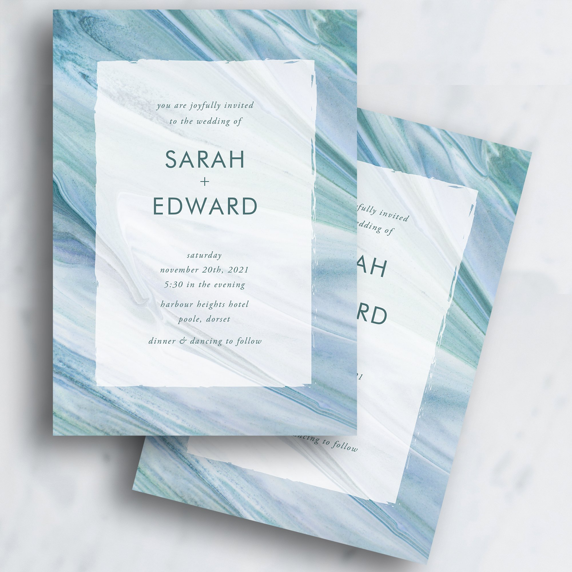 Flow Modern Wedding Invitation, Flamboyant Invites