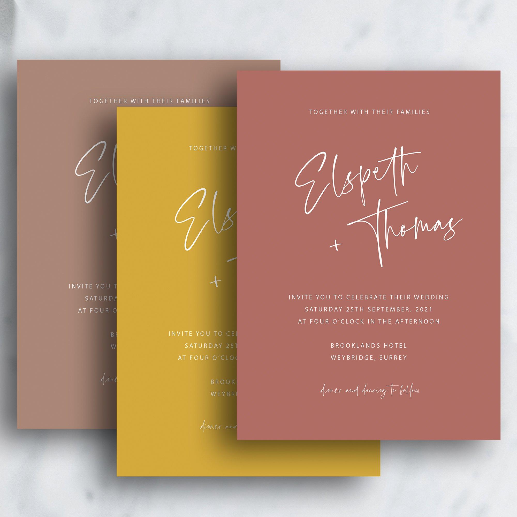 Scripted Modern Minimalist Wedding Invitation   Autumn Winter Invitation   Flamboyant Invites