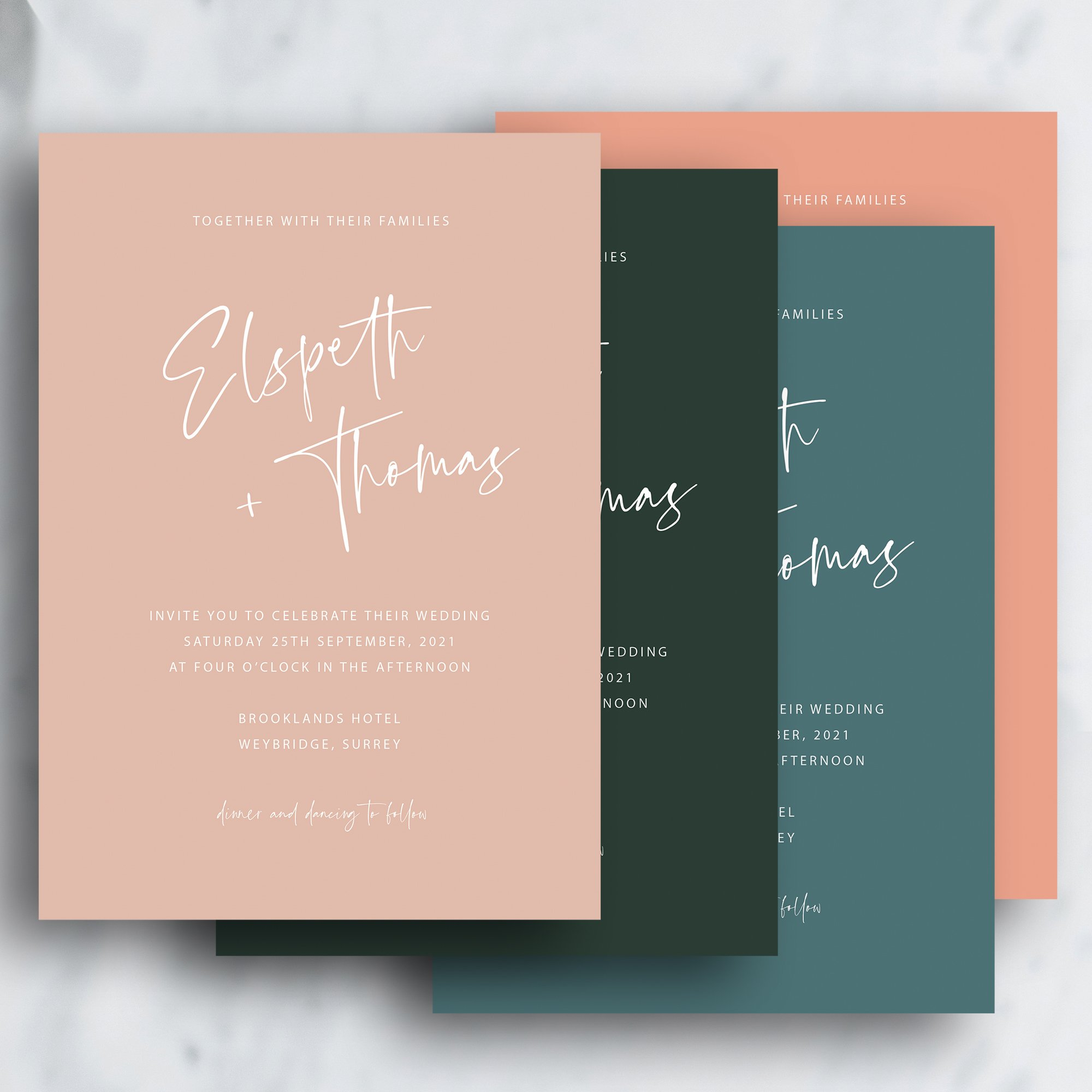 Scripted Modern Minimalist Wedding Invitation | Winter Colours | Flamboyant Invites