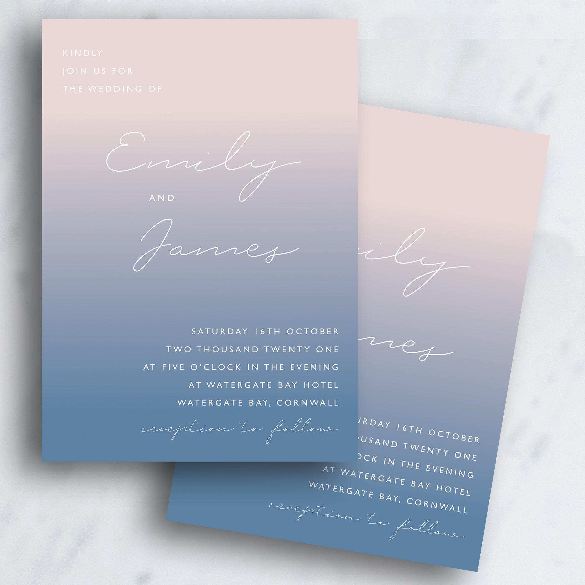 Sea Mist Ombre Wedding Invitation   Autumn Winter Invitation   Flamboyant Invites
