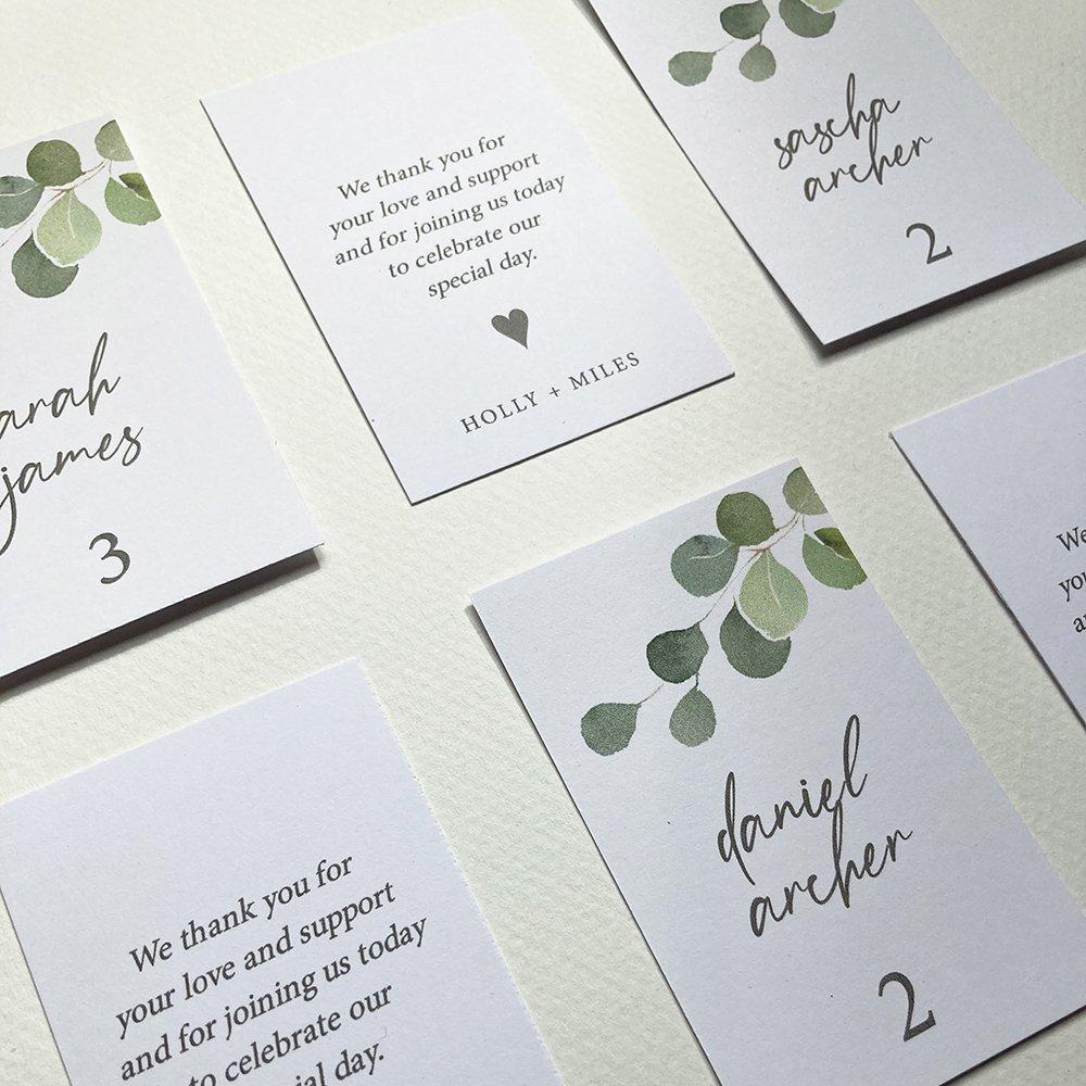 Eucalyptus Escort Cards, Flamboyant Invites