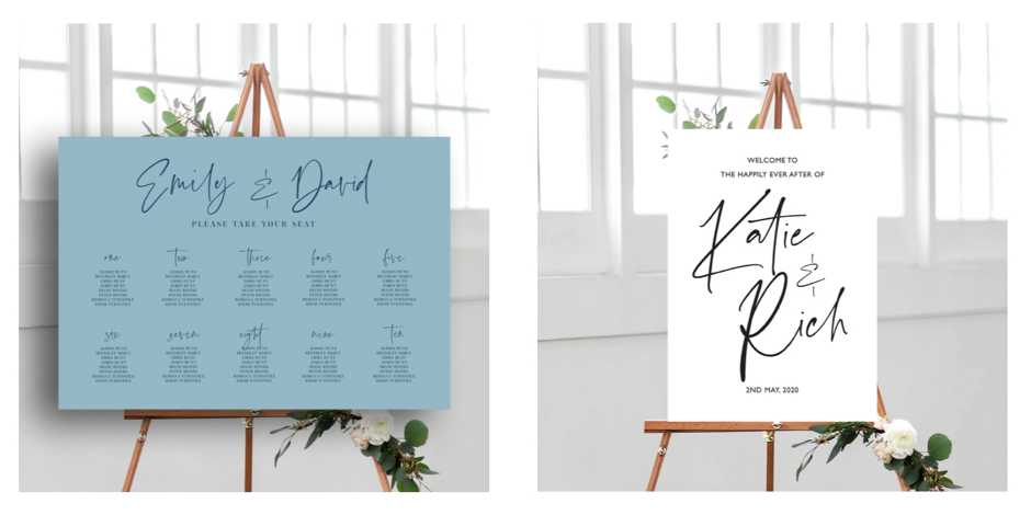 Table Plan and Signage, Flamboyant Invites