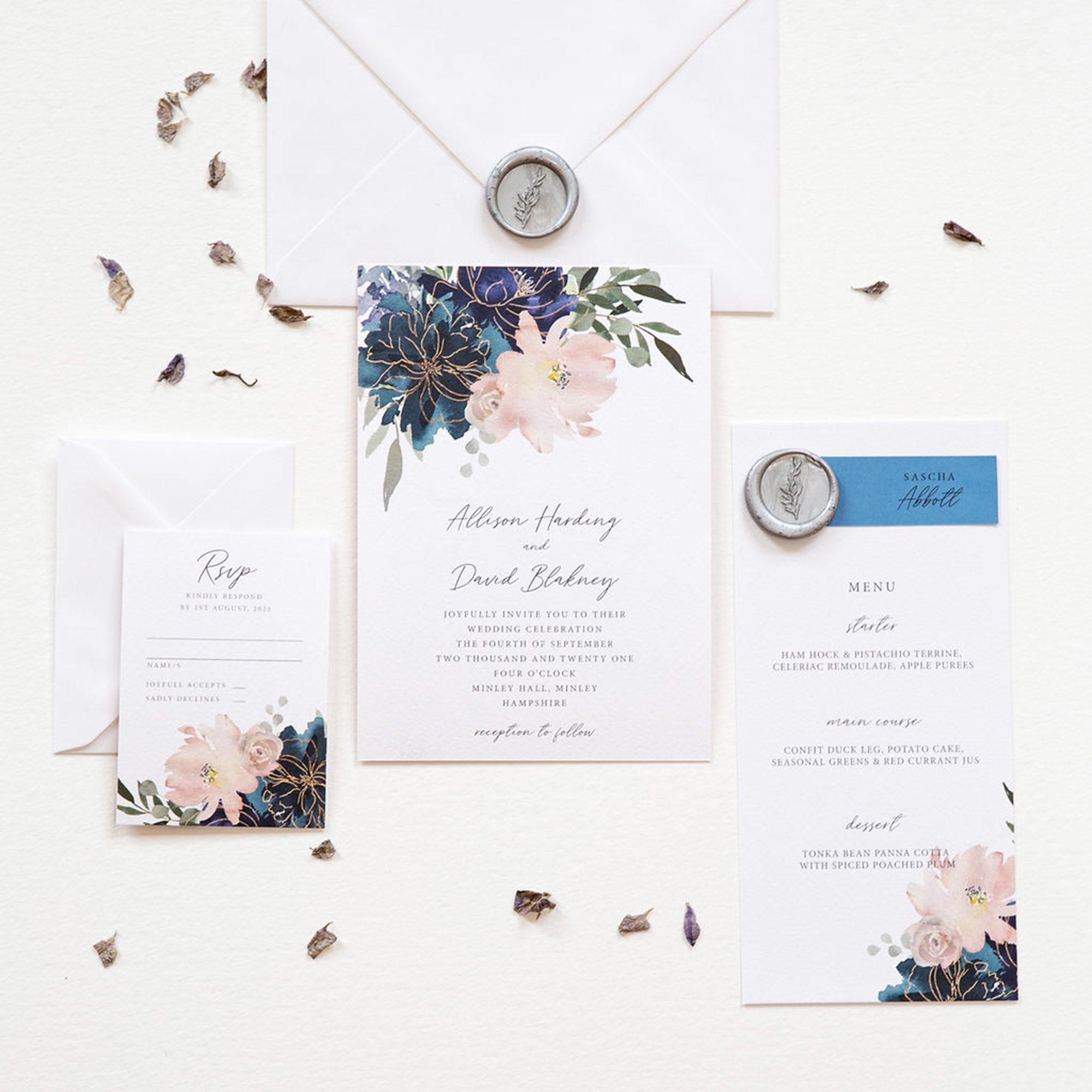 Flora Bleu Wedding Stationery, Flamboyant Invites