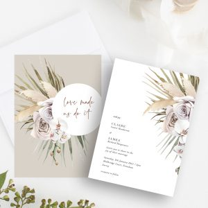 Micro Wedding Collection - Boho Palm Invitation | Flamboyant Invites