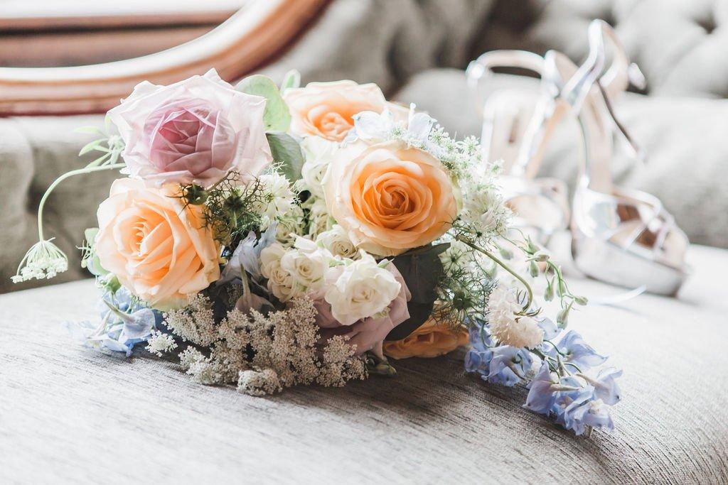 Blue and Blush Wedding Bouquet, Flamboyant Invites